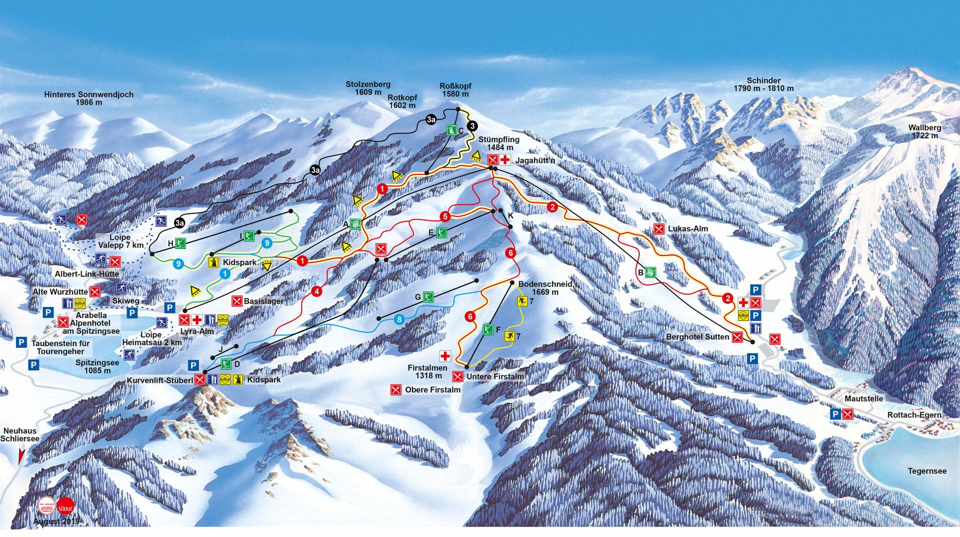 Panorama und Pistenplan Skigebiet Spitzingsee -Tegernsee 2019/20