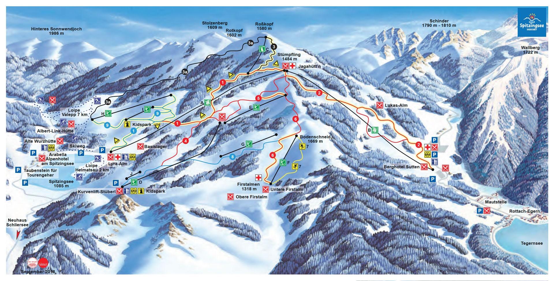Pistenplan 2019-20 Skigebiet Spitzingsee-Tegernsee